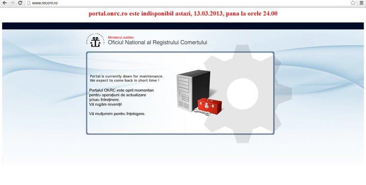 Portalul RECOM de 13 milioane euro e mort de doua zile… pentru mentenanta!