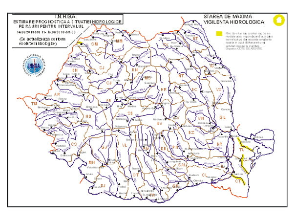 CODUL GALBEN de inundatii a fost prelungit! Vezi HARTA zonelor afectate!