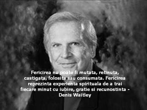 Fericirea nu poate fi mutata, retinuta, castigata, folosita sau consumata. Fericirea reprezinta experienta spirituala de a trai fiecare minut cu iubire, gratie si recunostinta – Denis Waitley