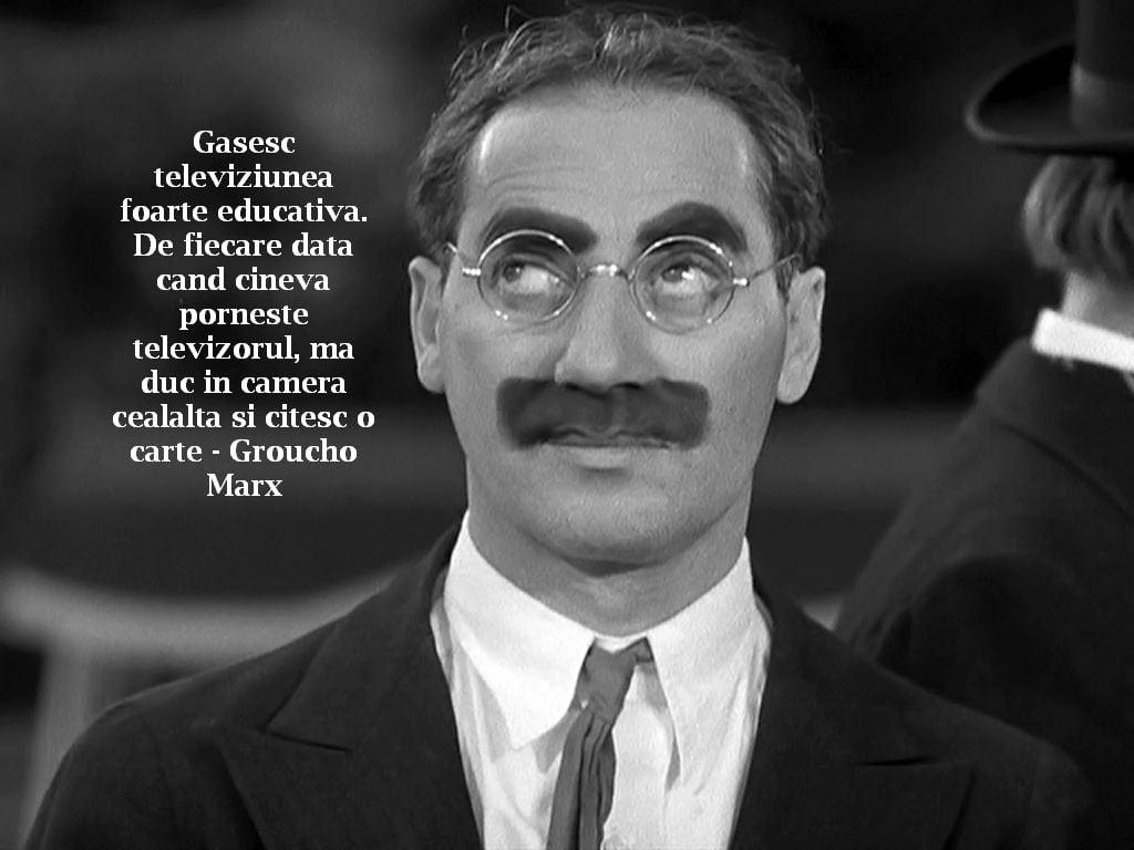 Gasesc televiziunea foarte educativa. De fiecare data cand cineva porneste televizorul, ma duc in camera cealalta si citesc o carte – Groucho Marx