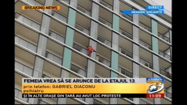 O femeie ameninta ca se arunca de la etajul 13 al unui bloc din Bucuresti!