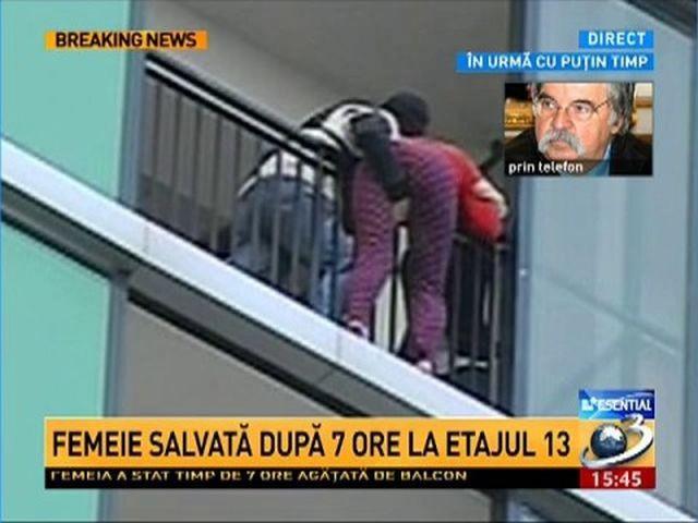 Femeia care ameninta ca se arunca de la etajul 13 a fost salvata dupa sapte ore!