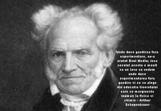 Unde duce gandirea fara experimentare, ne-a aratat Evul Mediu; insa secolul acesta e menit sa ne lase sa vedem unde duce experimentarea fara gandire si ce se alege din educatia tineretului care se margineste (numai) la fizica si chimie – Arthur Schopenhauer