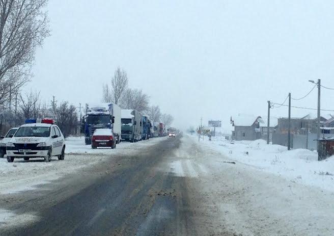 Drumul national DN 24D Balabanesti – Galati a fost inchis din cauza viscolului