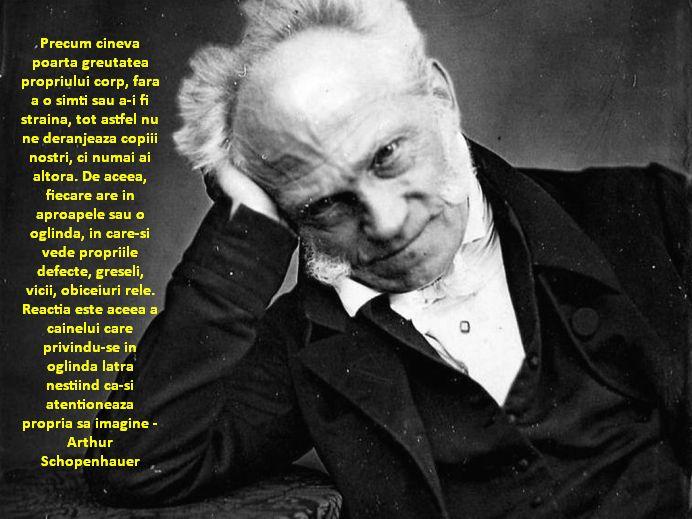 Precum cineva poarta greutatea propriului corp, fara a o simti sau a-i fi straina, tot astfel nu ne deranjeaza copiii nostri, ci numai ai altora. De aceea, fiecare are in aproapele sau o oglinda, in care-si vede propriile defecte, greseli, vicii, obiceiuri rele. Reactia este aceea a cainelui care privindu-se in oglinda latra nestiind ca-si atentioneaza propria sa imagine – Arthur Schopenhauer