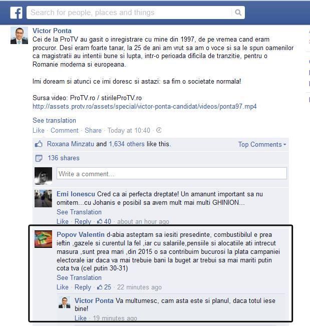 Victor Ponta pe Facebook