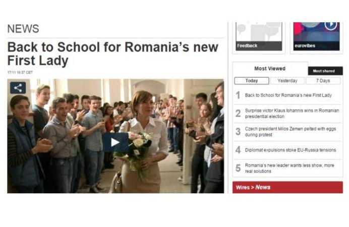 """Este cea mai citita stire in strainatate! """"Noua Prima Doamna a Romaniei s-a intors la scoala dupa alegeri"""""""