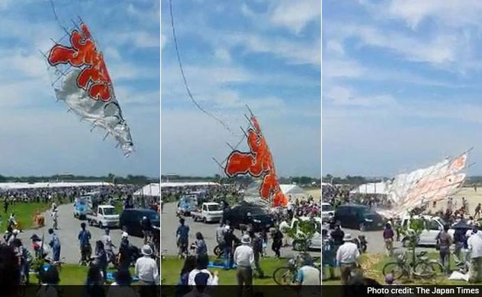 VIDEO – Un zmeu cu o greutate de 700 de kilograme s-a prabusit peste oameni, in Japonia!
