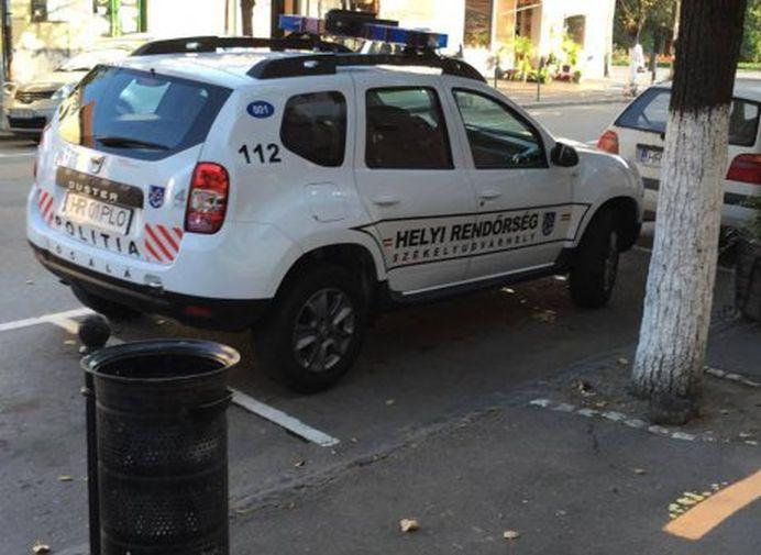 Din banii TUTUROR romanilor, Politia Locala din Harghita isi inscriptioneaza masina in UNGURESTE!