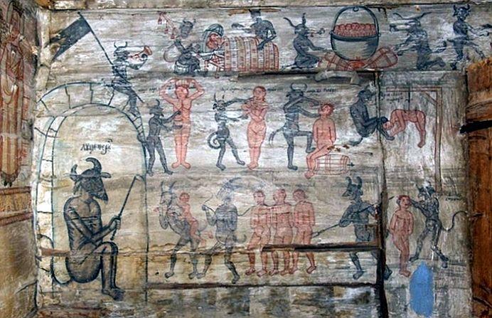 Pictura de biserica INSPAIMANTATOARE! Diavolii fumeaza langa femei dezbracate, la doi pasi de ALTAR!