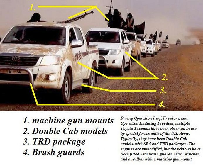 Misterul a fost DEZLEGAT! Cine aprovizioneaza ISIS cu sute de masini Toyota, gata echipate de RAZBOI?!