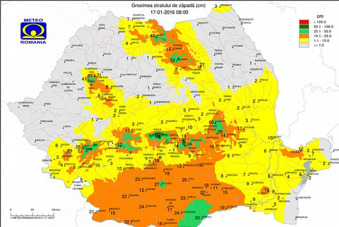 Stratul de zapada se apropie de 1,5 metri! Vezi harta INZAPEZIRII in Romania!