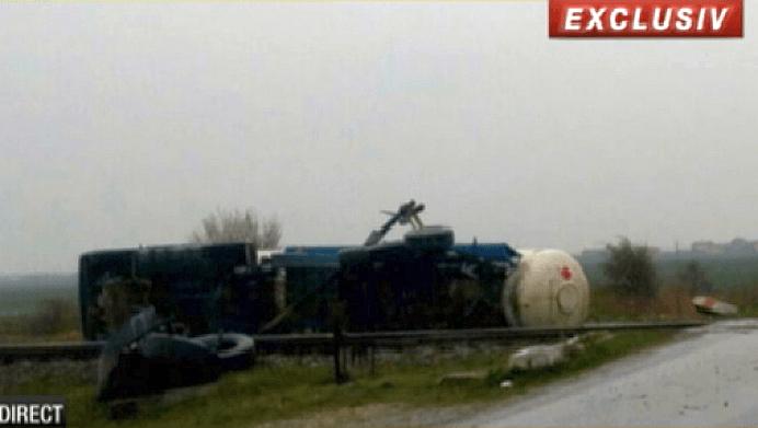Cisterna incarcata cu GPL lovita de tren, in apropiere de Aeroportul Otopeni!