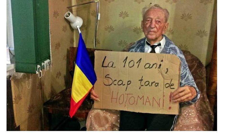 Cel mai batran protestatar din Romania: La 101 ani, scap tara de hotomani!
