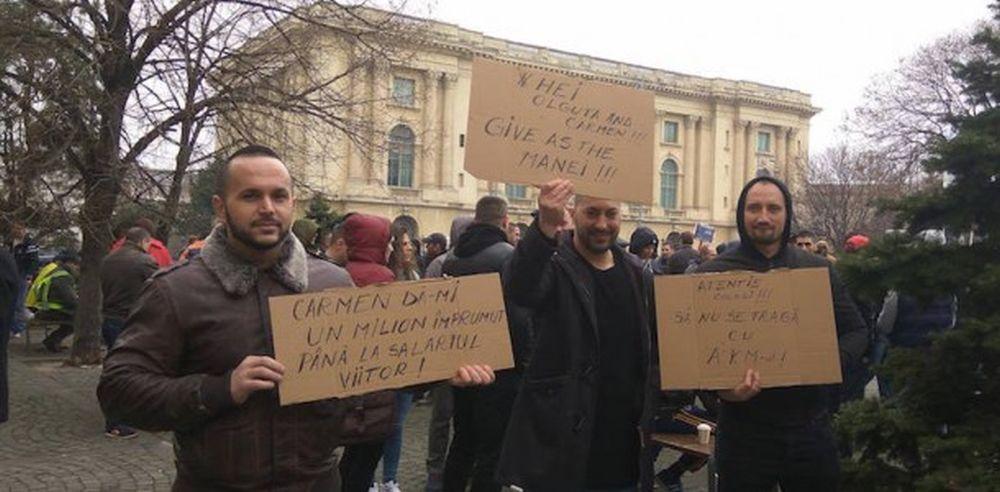 Politistii care au protestat in centrul Bucurestiului rad de ministrul muncii: Olguta, give as the manei!