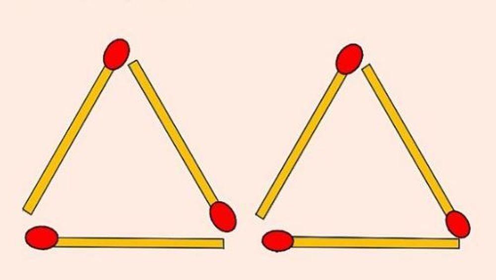 Dovedeste ca esti mai inteligent decat 99% din populatie! Muta doua bete ca sa formezi 4 triunghiuri!
