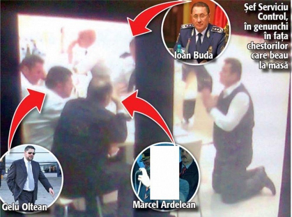 FOTO – Ritual MAFIOT la Ministerul de Interne: Seful Politiei ingenuncheaza in fata BASTANILOR care beau la masa!