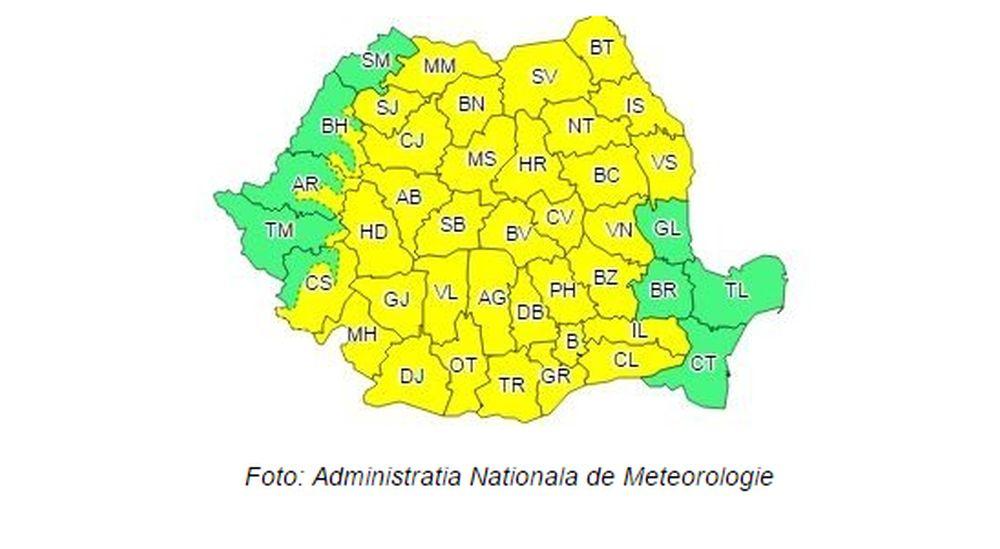 Ploi, furtuni si vant puternic in aproape toata tara! Romania sub cod galben!